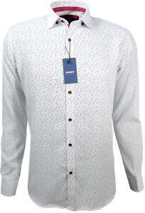 Herren-Weiss-Hemd-mit-Muster-Regular-fit-Langarm-80-Baumwolle-M-3XL