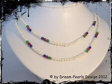 ♥ Dream-Pearls Perlenhalskette Rubin Smaragd Saphir weiß rot blau grün 100cm ♥89