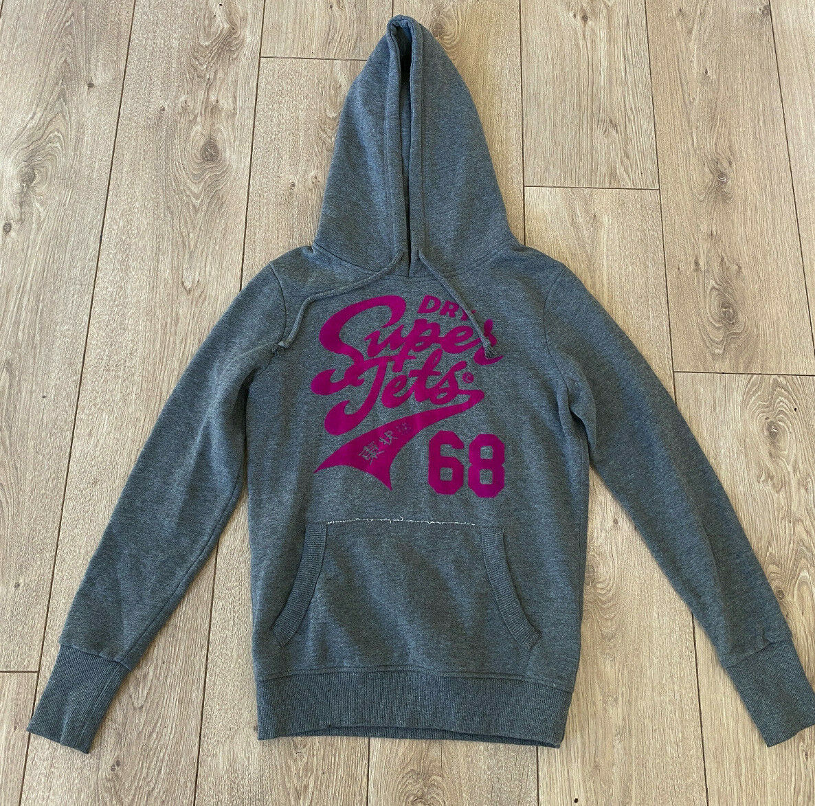 Superdry Women's Casual Grey Over Hoodie Jumper Small Cotton Blend