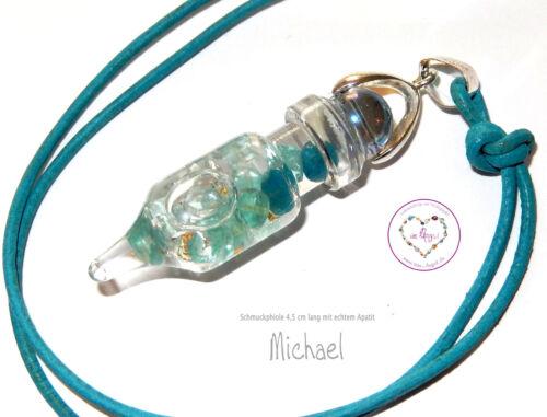 GlasSchmuck Anhänger Schutz /& Kraft Amulett des Erzengels Michael  Aqua Aura NEU