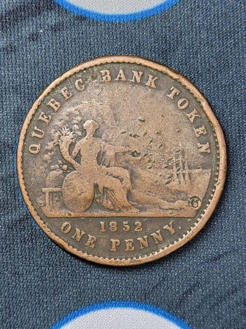 1852 Quebec Bank One Penny Token Province Canada Deux Sous Breton 528 CH PC4