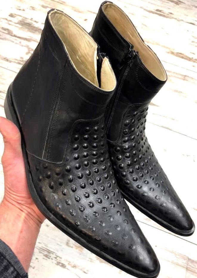 wholesape economico Struzzo pelle vitello Pelle Chelsea Uomo Stivaletti stivali stivali stivali Stivali Cerniera  offerta speciale