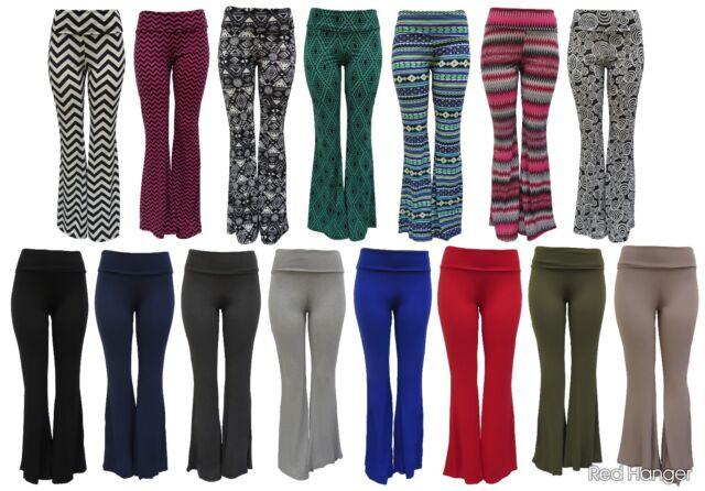 Palazzo Pants High Waist Yoga Foldover Band Wide Leg USA, S M L XL 1X 2X 3X