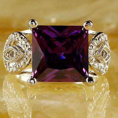 Princess Cut Amethyst White Topaz Gemstone Silver Ring Size O Q S T1/2 Free Ship