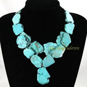 Huge-Turquoise-necklace-irregular-stone-Bib-Cluster-double-deck-women-039-s-jewelry