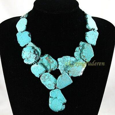 Huge Turquoise necklace irregular stone Bib Cluster double-deck women's jewelry