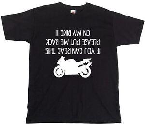 Funny-Men-039-s-T-shirts-Please-Put-Me-Back-On-My-Bike-Motorcycle-Black-Tshirt