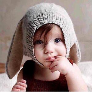 eed53d0b71b Toddler Kids Baby Boy Girl Knitted Crochet Beanie Hat Cap Rabbit Ear ...