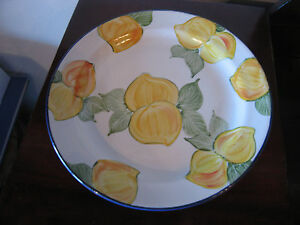 Possibly-Vintage-Signed-Hand-Painted-Ceramic-Plate-w-Lemons-or-Flowers