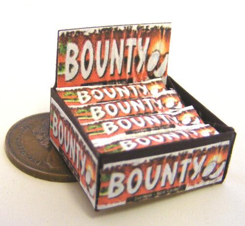 1:12 Escala Pantalla Caja De Chocolate Negro Bounty Barras Tumdee Casa Muñecas