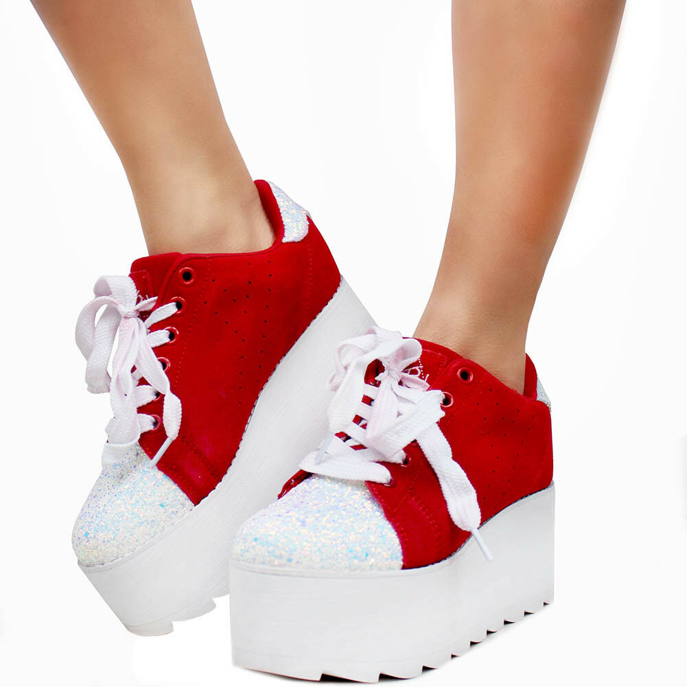 NIB YRU  Y.R.U. Lala Suede Platform Sneakers in Red/White SIZE 9,10 -SALE