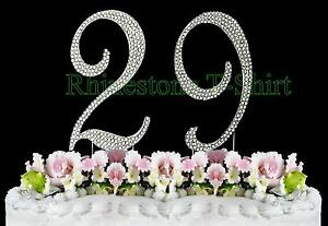 Superb Large Rhinestone Number 29 Cake Topper 29Th Birthday Personalised Birthday Cards Veneteletsinfo