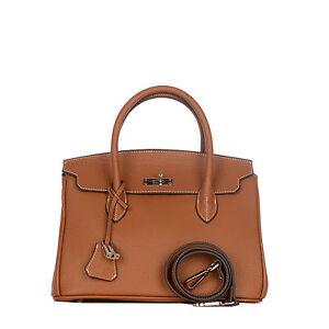 ROUVEN-Cognac-Braun-Silver-GRACE-30-Tote-Bag-Leder-Handtasche-Schultertasche