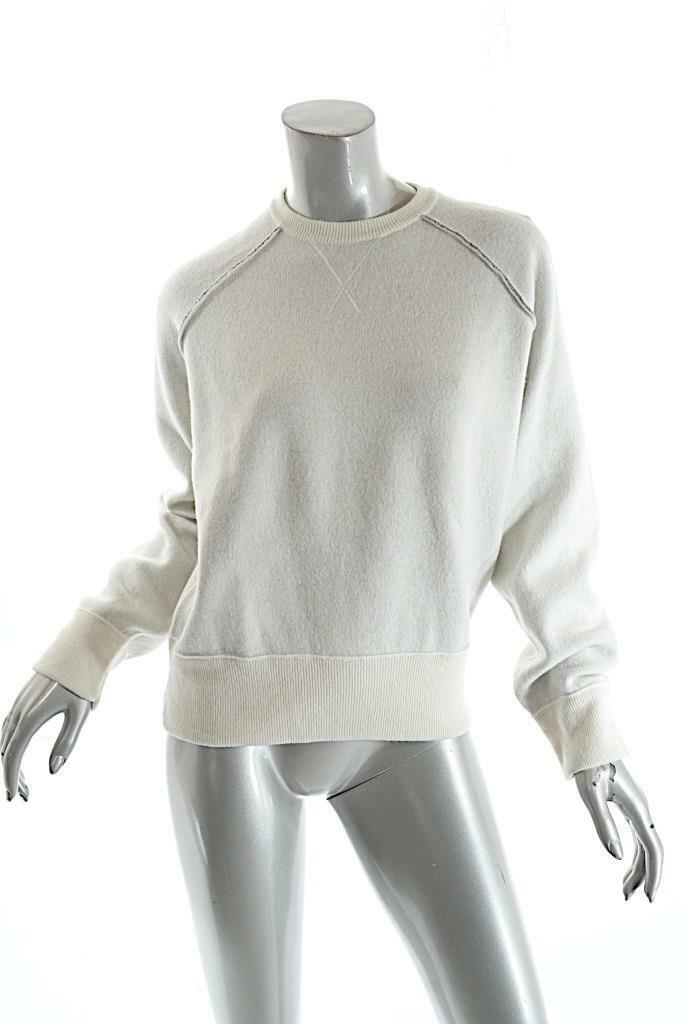 MM6 Maison Martin Margiela Ivory Cotton Wool Blend Reversible Sweater  Sz L  NWT