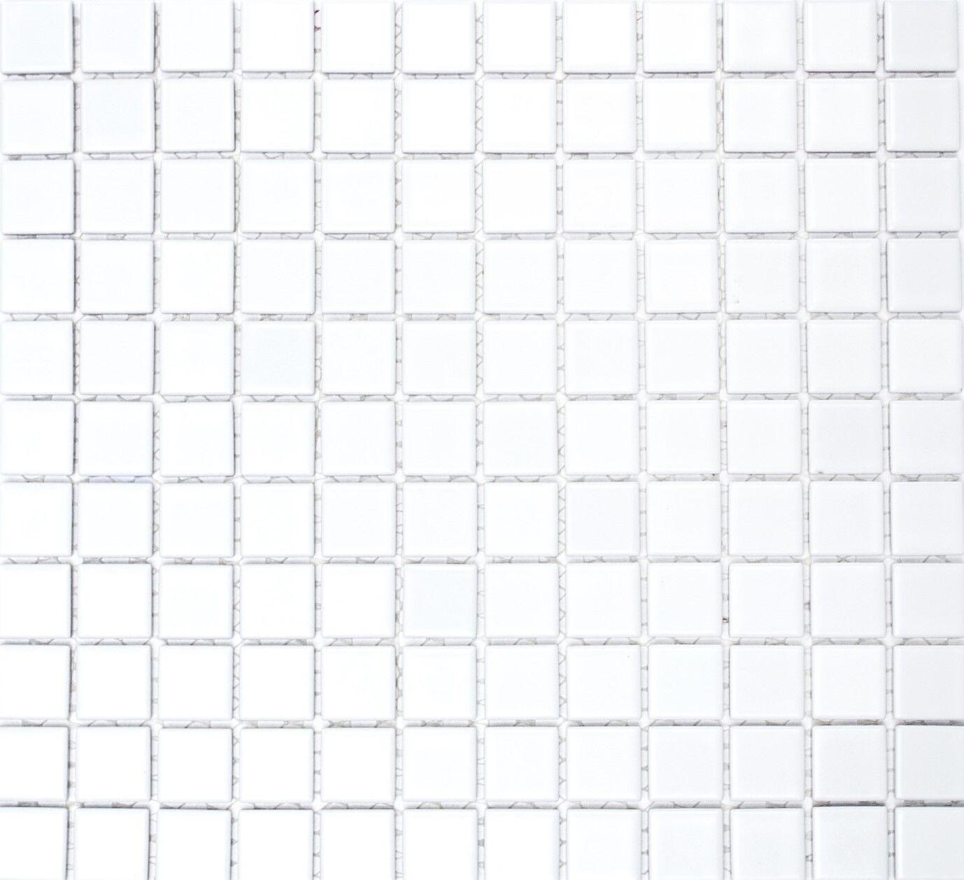 Mosaik Fliese Keramik weiß glänzend Schwimmbad Boden WC | 18-0102_f | 10 Matten