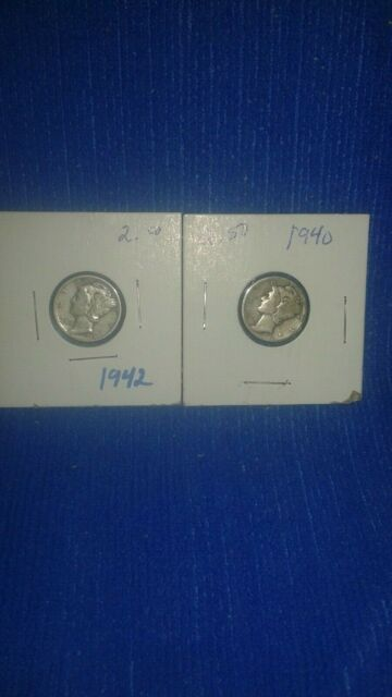 NICE PAIR OF DIMES!! 1940, 42 MERCURY DIMES FOR AUCTION
