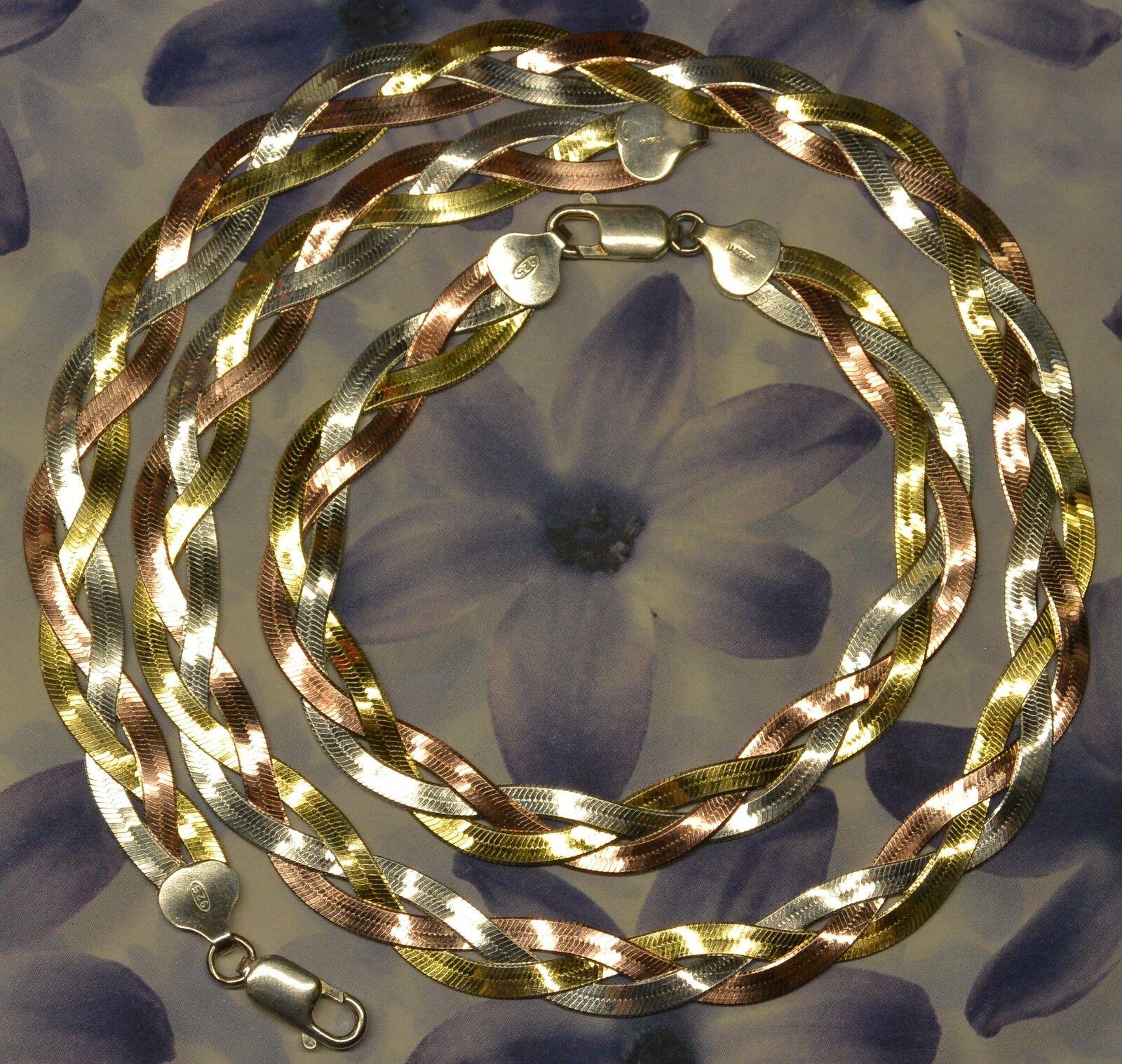 Parure 3 Chaines Serpentines Tressées Tricolores Réversible Réversible Réversible argento Dolly-Bijoux 2d1828