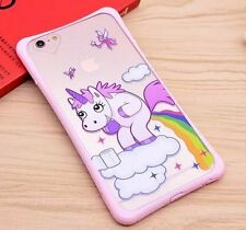 For iPhone 6 / 6S - HARD TPU GUMMY SKIN CASE COVER PINK CLEAR UNICORN RAINBOW