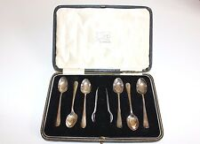 Vintage Antique Set of 6 Solid Silver Hallmarked Teaspoons and Tongs, Boxed
