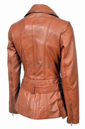 Boston New Tan Hooded Ladies Woman Designer Real Soft Sheep Napa Leather Jacket