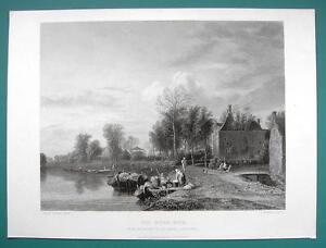 HOLLAND-Dutch-Landscape-Scenery-River-Bank-SUPERB-1850s-Antique-Print