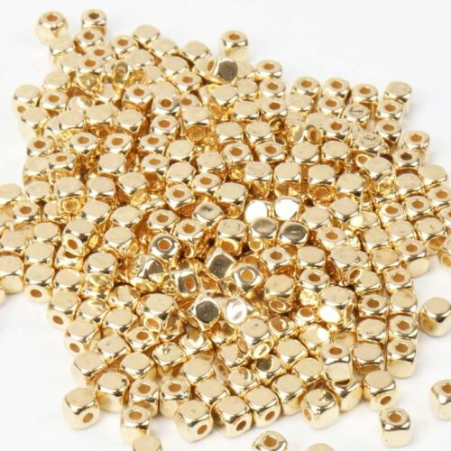 1000pcs Gold Silver CCB Acrylic Cube Spacer Beads For jewelry Making DIY 3mm