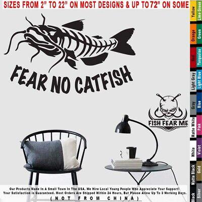 Fishing Bone Skeleton Look Right Fear No Catfish Boat Decal Sticker