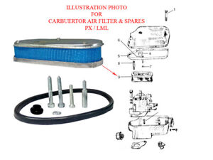 Vespa-Carburetor-Air-Filter-And-Beading-Screw-PX125-PX150-VBX-Star-Stella-T5-LML