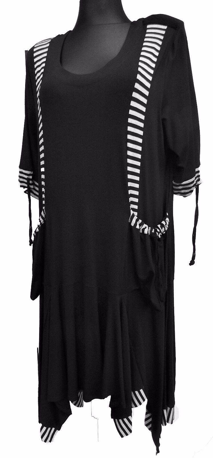 Damen Kleid Lagenlook 3 4 Arm schwarz grau Mustermix Viskose Gr. 44-46 Zipfelig