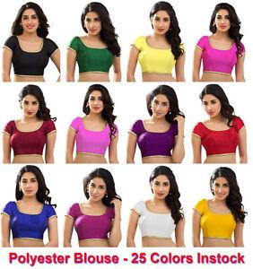 Polyester-Silk-Indian-Wedding-Blouse-Top-Choli-Saree-Bollywood-Dupion-BeelyDance