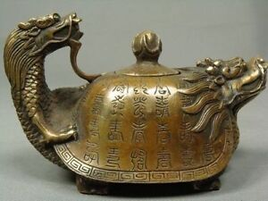 CHINESE-OLD-COPPER-HANDWORK-DRAGON-TEA-POT