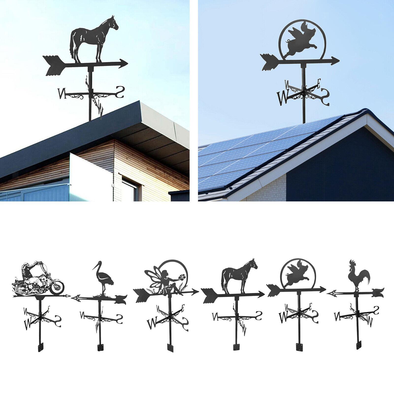 Iron Black Weather Vane Animal Statue Practical Farm Scene Outdoor Garden Stake