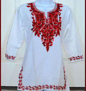 Red-Embroidered-White-Cotton-Tunic-Top-Kurti-Blouse-from-India