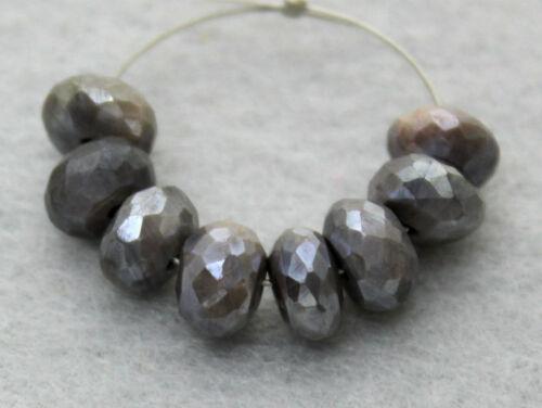 Natural Australian Grey Moonstone Faceted Rondelle Gemstone Beads 7mm.