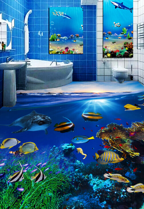 3D Sunny lecho marino Sky 74 Papel de parojo de Piso Impresión De Parojo Murales AJ Wallpaper Reino Unido Limón
