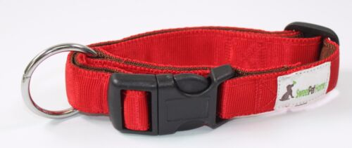"""14/"""" to 18/"""" Inch Double Cushion Nylon Red Collar for Medium to Large Sized Dogs"""