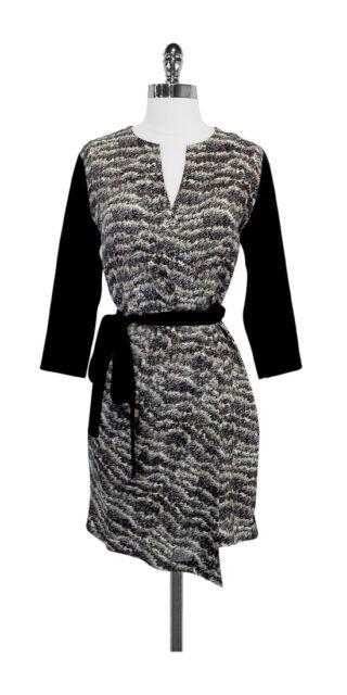 Nwot Rag Bone Nordstrom Exclusive Black Tan Silk Wrap Dress