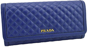 690-Bleu-PRADA-Soft-Mollet-Matelasse-en-Cuir-Pochette-Credit-ID-Portefeuille-New-Collection