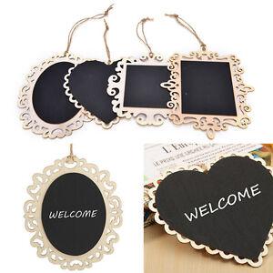 Vintage-Hanging-Wood-Blackboard-Chalkboard-Message-Label-Wedding-Memo-Sign-SEAU