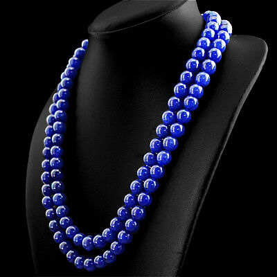641.40 CTS EARTH MINED 2 LINE RICH BLUE SAPPHIRE ROUND SHAPE BEADS NECKLACE