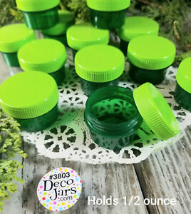 24-Green-Plastic-Jars-Screw-Caps-1-Tblsp-1-2oz-Container-Lip-Gloss-3803-DecoJars