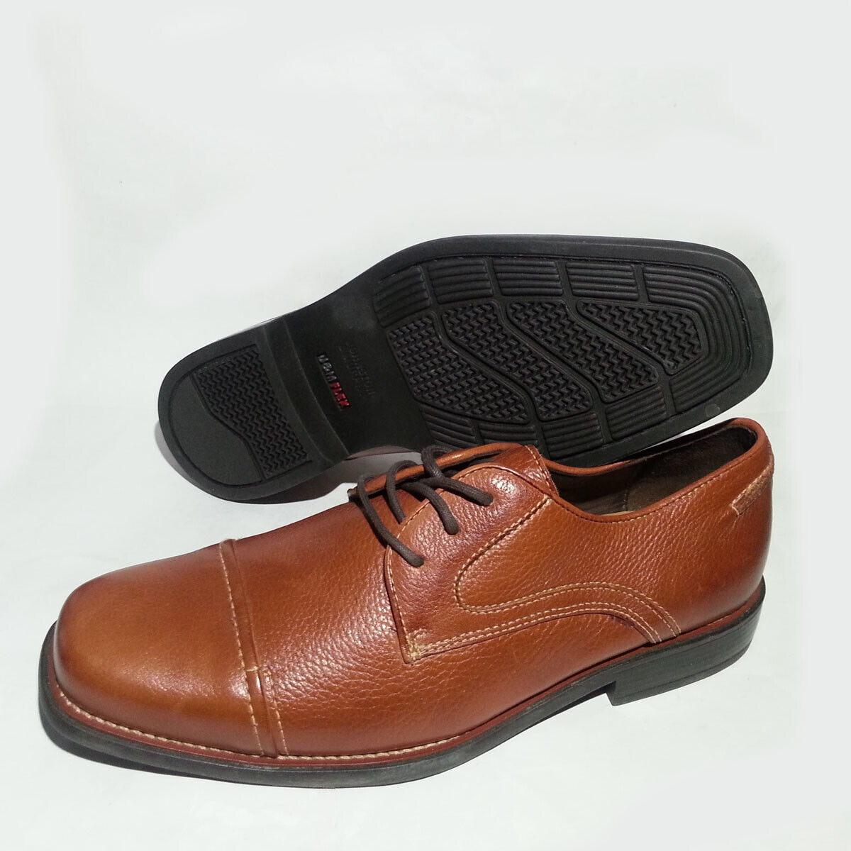 JohnstonΜrphy Flex Men Size 8 Cap Toe Tan Brown Sheepskin Oxford shoes Brazil