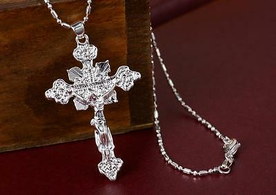 Hot 1pcs Silver Cross Jesus Charms Pendant For Necklace  FL
