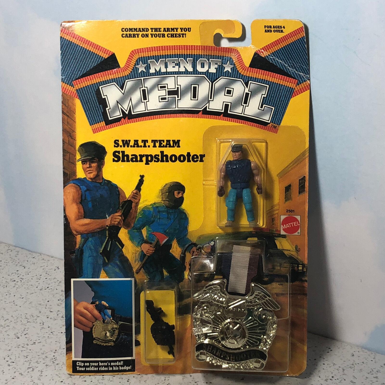 1988 MATTEL MEN OF MEDAL MOC ACTION FIGURE CLIP ON BADGE SWAT SHARPSHOOTER TEAM