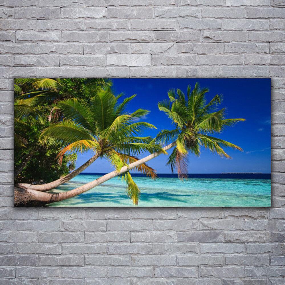 Glasbilder Wandbild Druck auf Glas 120x60 Palmen Meer Landschaft