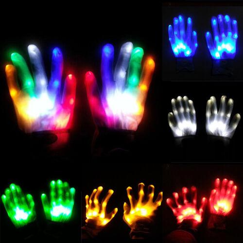 Electro LED Fingers Flashing Gloves Light Up Christma Xmas Dance Rave Party Fun