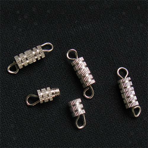 50 Rhodium Plated Column Barrel Swivel Screw Clasps 15x4mm DIY Jewelry Findings