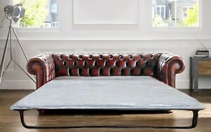 Chesterfield-3-Seater-Sofa-Bed-Antique-Real-Leather-Made-in-UK-Brand-NEW