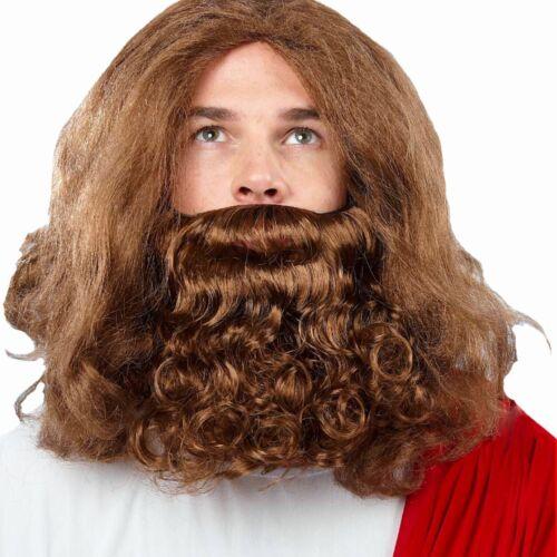 Biblical Jesus Moses Noah Wizard Medieval Fancy Dress Party Wig /& Beard BROWN