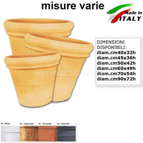 VASI IN PLASTICA DOPPIO BORDO LISCIO DA DIAM.CM40 A CM90 VASI PER ALBERI DA FRUT